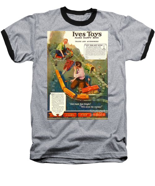 Old Litho Print Toy Train Advertisement Baseball T-Shirt