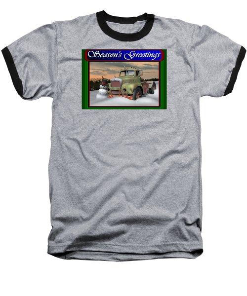 Old Mack Christmas Card Baseball T-Shirt by Stuart Swartz