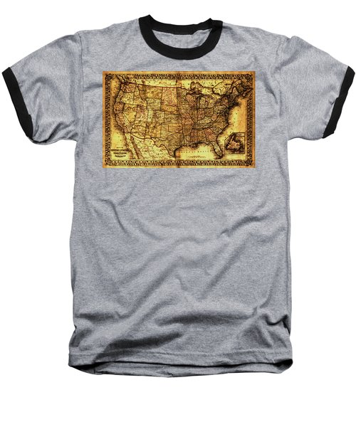 Old Map United States Baseball T-Shirt