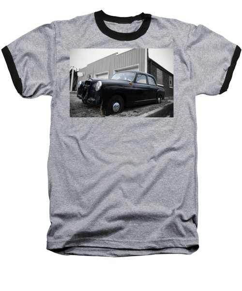 Old Mercedes Sitting At The Shop - Color On Black And White Baseball T-Shirt by Janice Adomeit