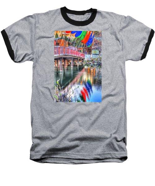 Old Mill Foot Bridge 481 Baseball T-Shirt by Jerry Sodorff