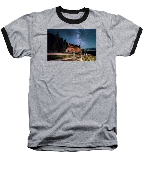 Old Mining Camp Under Milky Way Baseball T-Shirt by Michael J Bauer