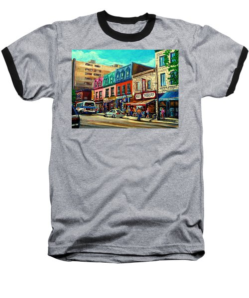 Old Montreal Schwartzs Deli Plateau Montreal City Scenes Baseball T-Shirt