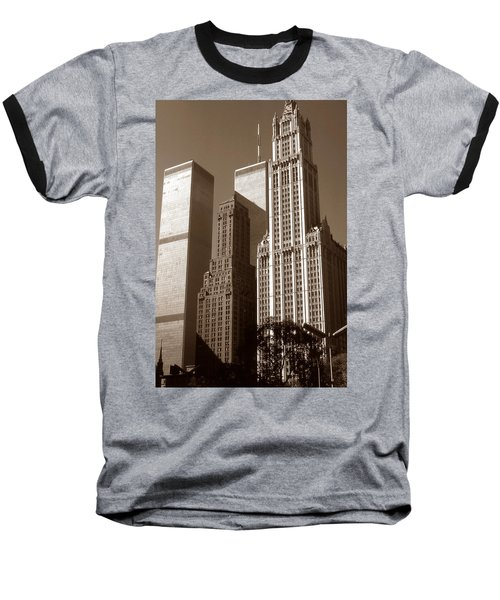 Old New York Photo - Woolworth Building And World Trade Center Baseball T-Shirt