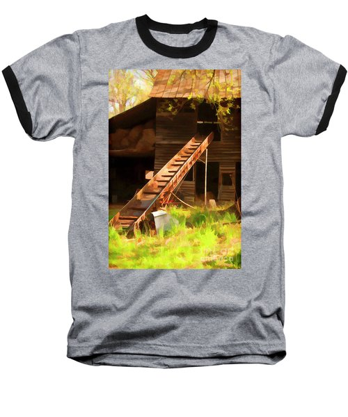 Old North Carolina Barn And Rusty Equipment   Baseball T-Shirt by Wilma Birdwell