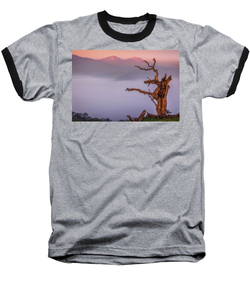 Old Oak And Mt. Diablo On A Foggy Morning Baseball T-Shirt by Marc Crumpler