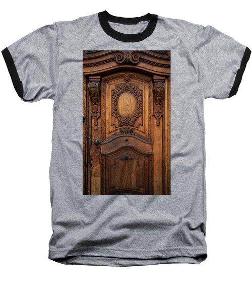 Old Ornamented Wooden Doors Baseball T-Shirt by Jaroslaw Blaminsky