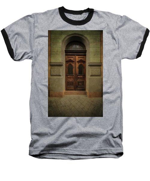 Old Ornamented Wooden Gate In Brown Tones Baseball T-Shirt by Jaroslaw Blaminsky