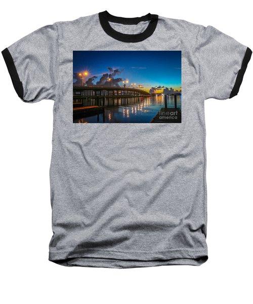 Old Palm City Bridge Baseball T-Shirt by Tom Claud