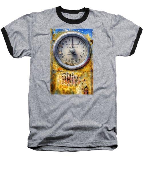 Old Petrol Pump Gauge Baseball T-Shirt by Ian Mitchell