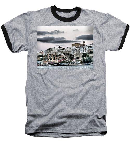 Old Port Mahon And Italian Sail Training Vessel Palinuro Hdr Baseball T-Shirt by Pedro Cardona