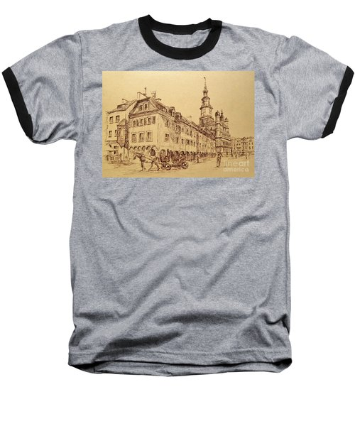 Old Poznan Drawing Baseball T-Shirt by Maja Sokolowska