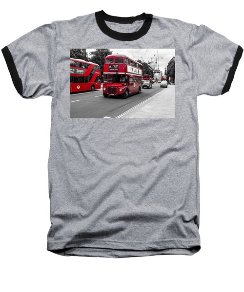 Old Red Bus Bw Baseball T-Shirt