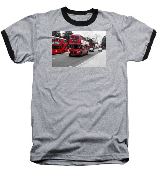 Old Red Bus Bw Baseball T-Shirt