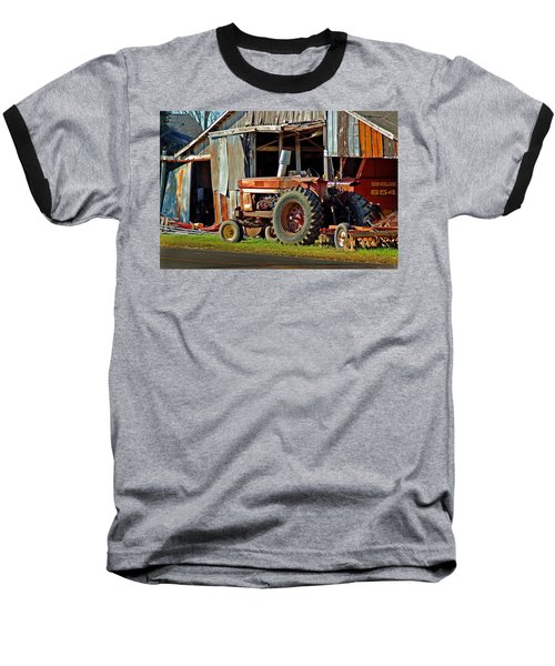 Old Red Tractor And The Barn Baseball T-Shirt