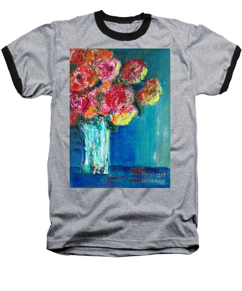Old Roses Baseball T-Shirt by Veronica Rickard