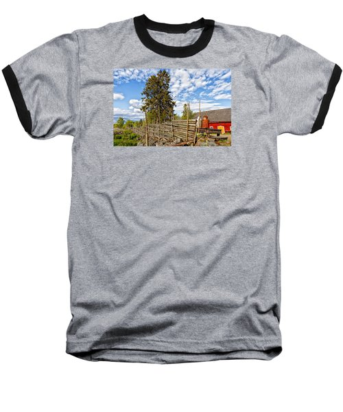 Old Rural Farm Set In A Beautiful Summer Nature Baseball T-Shirt by Christian Lagereek
