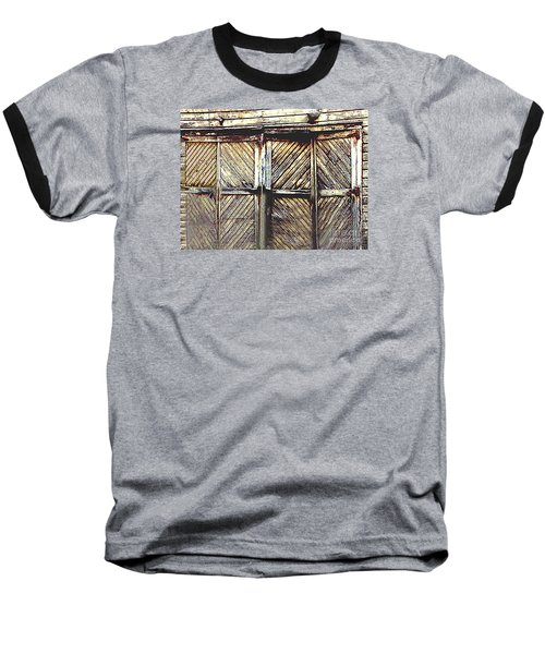Old Rusted Barn Door Baseball T-Shirt by Merton Allen