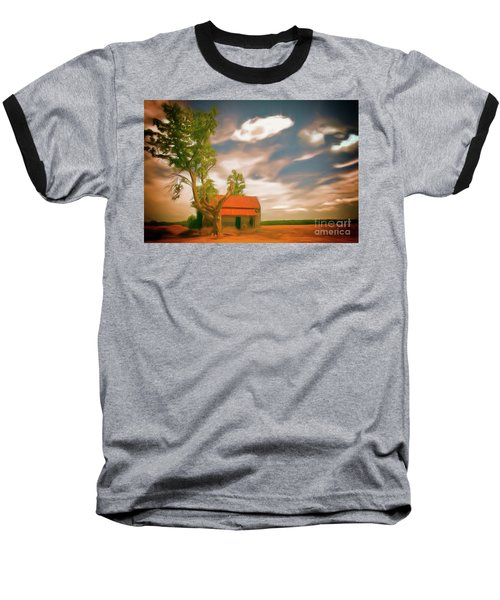 Old Rustic Vintage Farm House And Tree Ap Baseball T-Shirt