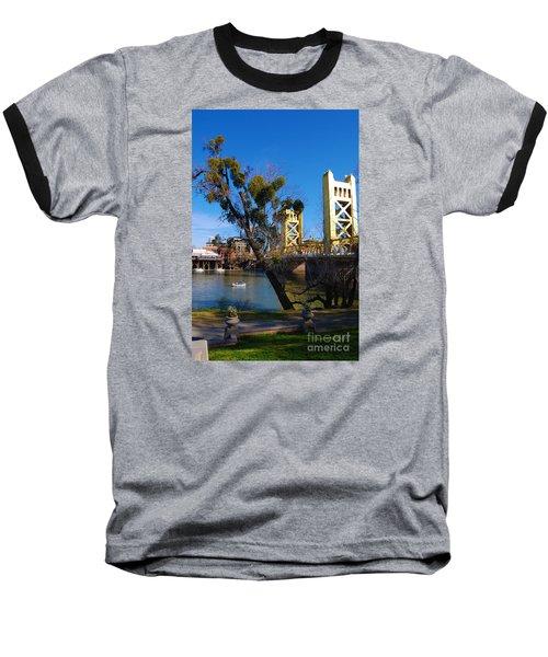 Old Sacramento Tower Bridge Baseball T-Shirt by Debra Thompson