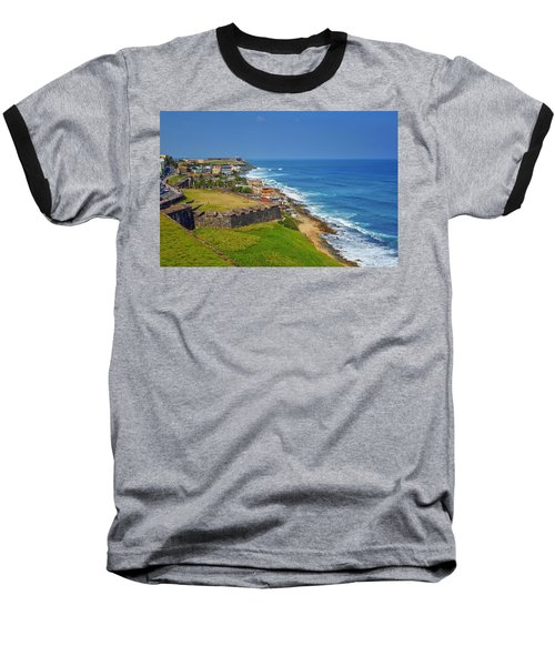 Old San Juan Coastline Baseball T-Shirt by Stephen Anderson