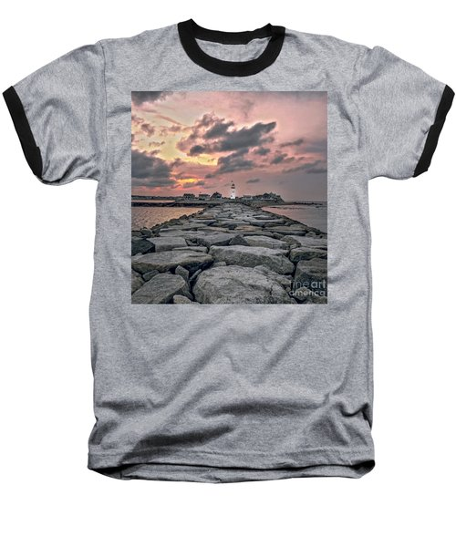 Old Scituate Light At The End Of The Jetty Baseball T-Shirt