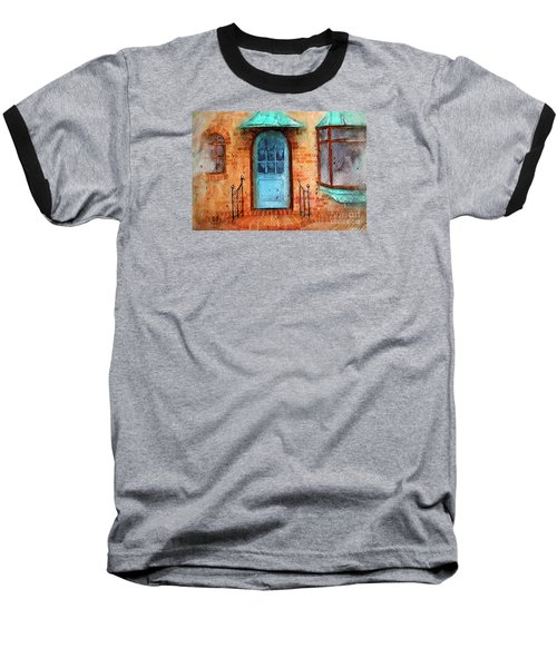 Old Service Station With Blue Door Baseball T-Shirt