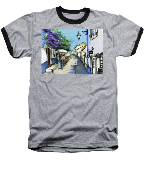 Baseball T-Shirt featuring the painting Old Street In Obidos, Portugal by Dora Hathazi Mendes