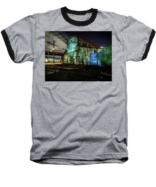 Old Tacoma Industrial Building Light Painted Baseball T-Shirt