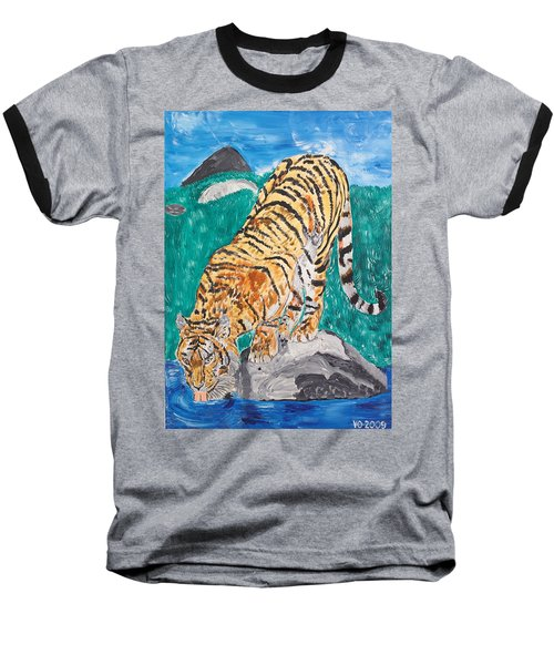 Old Tiger Drinking Baseball T-Shirt by Valerie Ornstein