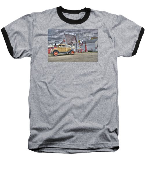 Old Time Gas Station Baseball T-Shirt by Shelly Gunderson