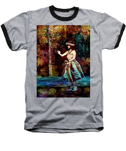 Baseball T-Shirt featuring the painting Old Time Hula Dancer by Marionette Taboniar