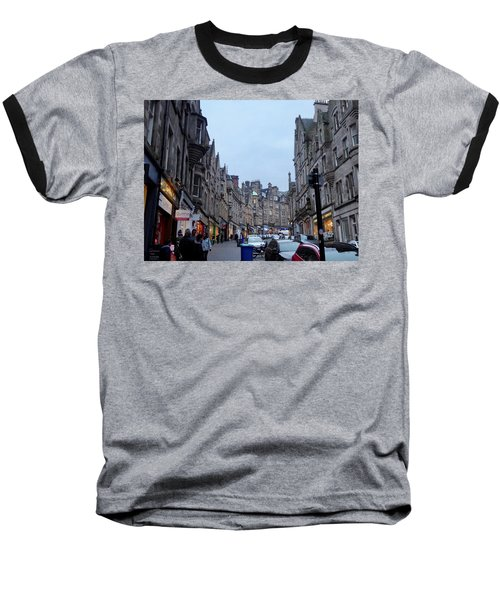 Old Town Edinburgh Baseball T-Shirt by Margaret Brooks