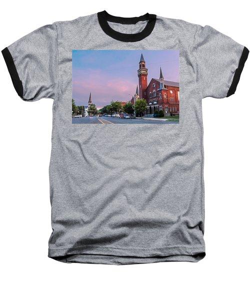 Old Town Hall Sunset Sky Baseball T-Shirt