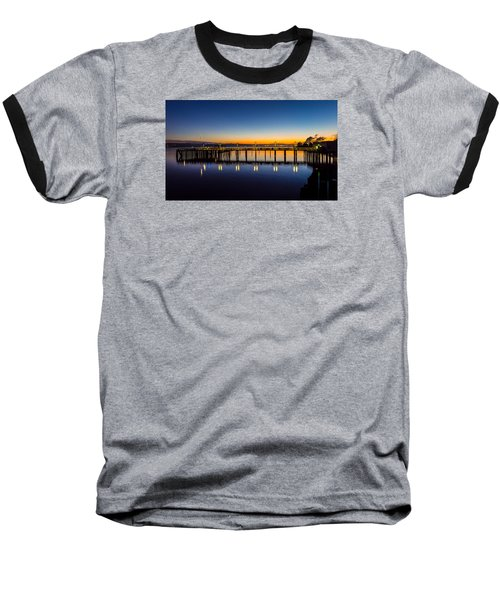 Old Town Pier Blue Hour Sunrise Baseball T-Shirt by Rob Green