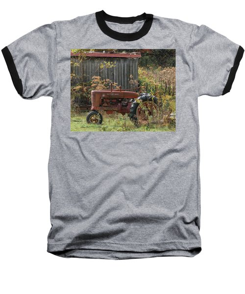 Old Tractor On The Farm. Baseball T-Shirt