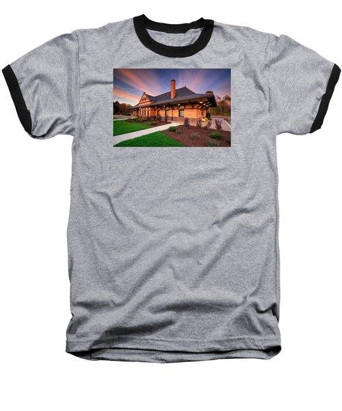 Old Train Station Baseball T-Shirt by Emmanuel Panagiotakis