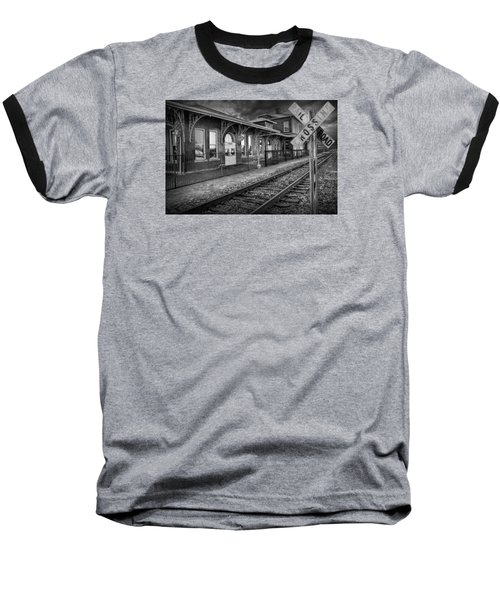 Old Train Station With Crossing Sign In Black And White Baseball T-Shirt