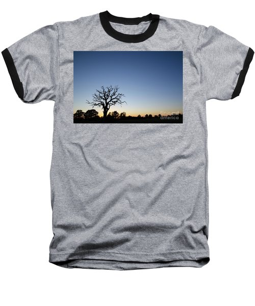 Old Tree Silhouette Baseball T-Shirt