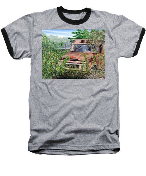 Baseball T-Shirt featuring the painting Old Truck Rusting by Marilyn  McNish