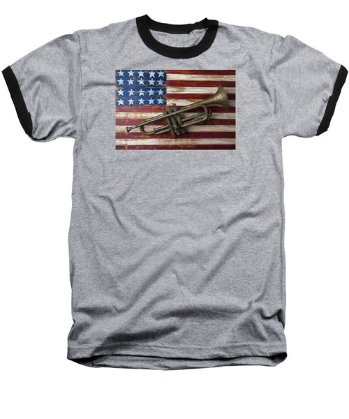 Old Trumpet On American Flag Baseball T-Shirt by Garry Gay