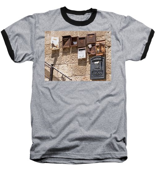 Old  Mailboxes In Jerusalem Baseball T-Shirt by Yoel Koskas