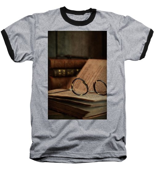 Old Vintage Books With Reading Glasses Baseball T-Shirt
