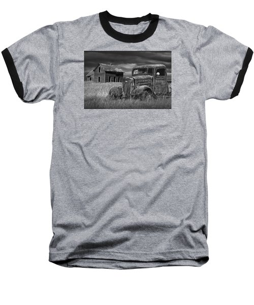 Old Vintage Pickup In Black And White By An Abandoned Farm House Baseball T-Shirt