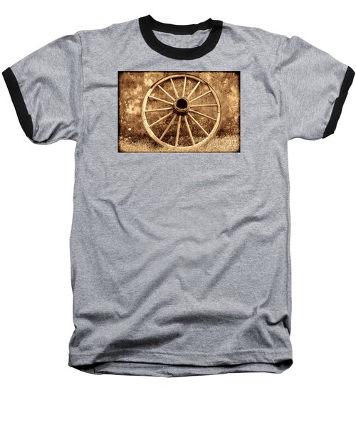 Old Wagon Wheel Baseball T-Shirt by American West Legend By Olivier Le Queinec