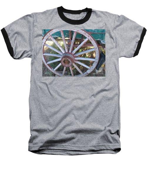 Baseball T-Shirt featuring the photograph Old Wagon Wheel by Dora Sofia Caputo Photographic Art and Design
