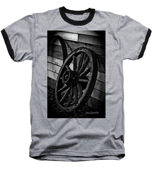 Old Wagon Wheel Baseball T-Shirt by Joann Copeland-Paul