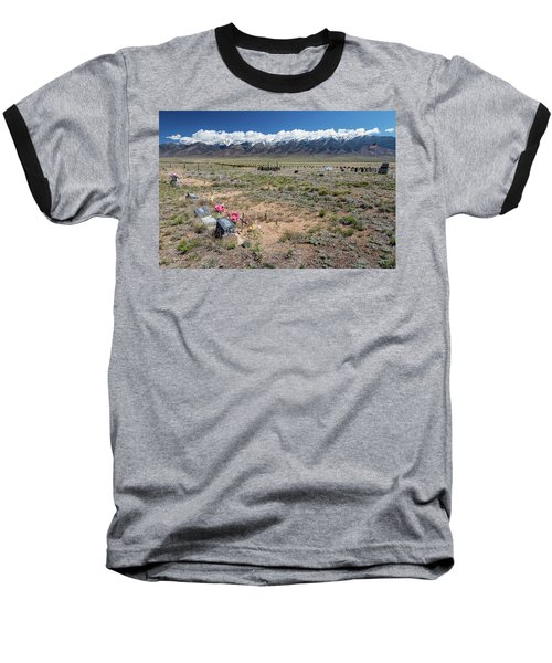 Old West Rocky Mountain Cemetery View Baseball T-Shirt by James BO Insogna