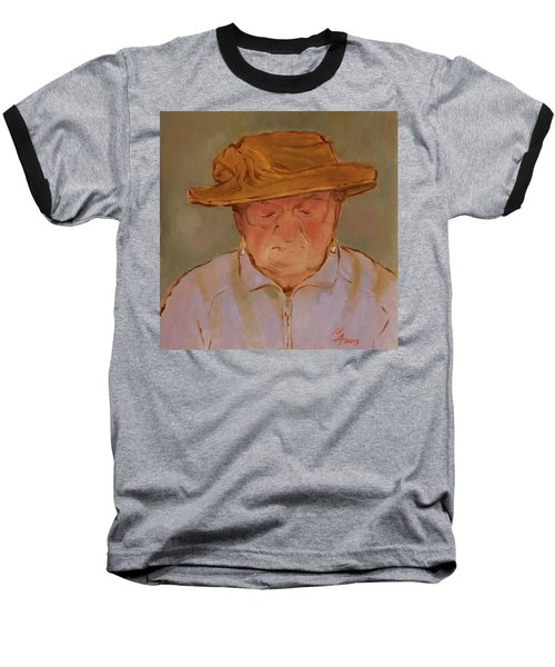 Old Woman With Yellow Hat Baseball T-Shirt