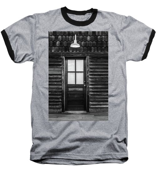 Old Wood Door And Light Black And White Baseball T-Shirt by Terry DeLuco